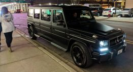 Elongated G-Class marches through the streets in Eastern Europe