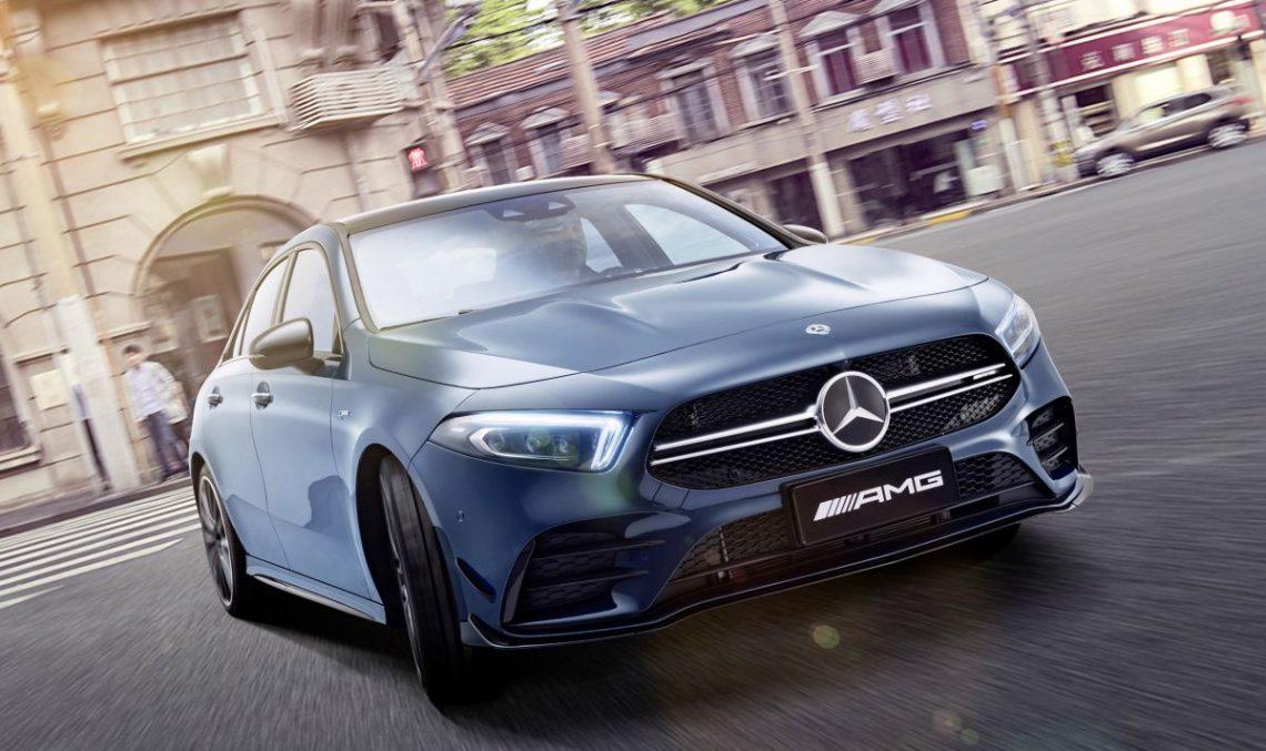 Mercedes-AMG A 35 L: Long wheelbase performance A-Class at Auto Shanghai 2019