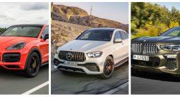 Static comparison: the new Mercedes-Benz GLE Coupe vs Porsche Cayenne Coupe, BMW X6