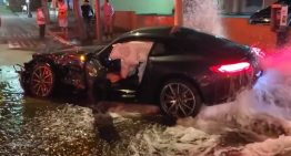 Mercedes-AMG GT lands on fire hydrant and floods the area