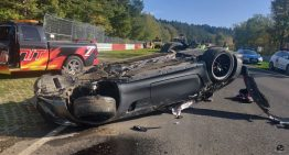 Mercedes-AMG GT R rolls over seven times at the Nurburgring racetrack