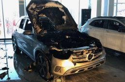 Burned down to the ground. Mercedes-Benz GLC ignites in Boston dealership