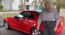 107-year old man drives 99-year old fiancee in red Mercedes-Benz SLK