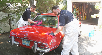 A Mercedes-Benz 280 SL gets its first wash in over 35 years