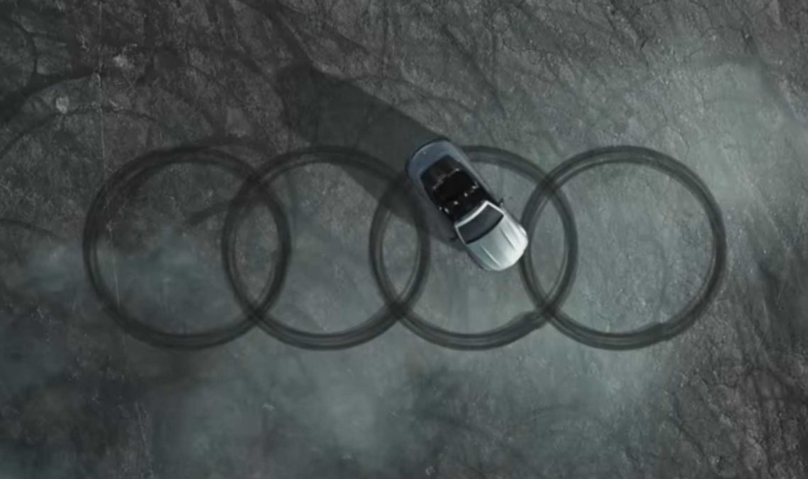 Compliments from the rival. Mercedes-AMG does donuts and draws the Audi rings
