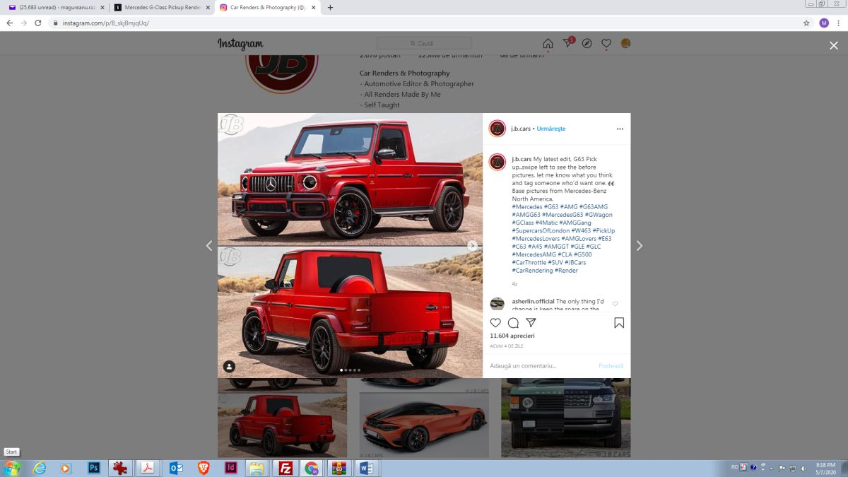jb cars instagram Mercedes G-Class pick-up