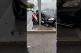 Live crash: Young Russians party hard, destroy Mercedes