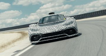 Mercedes-AMG One performs speed testing on the Mercedes test center