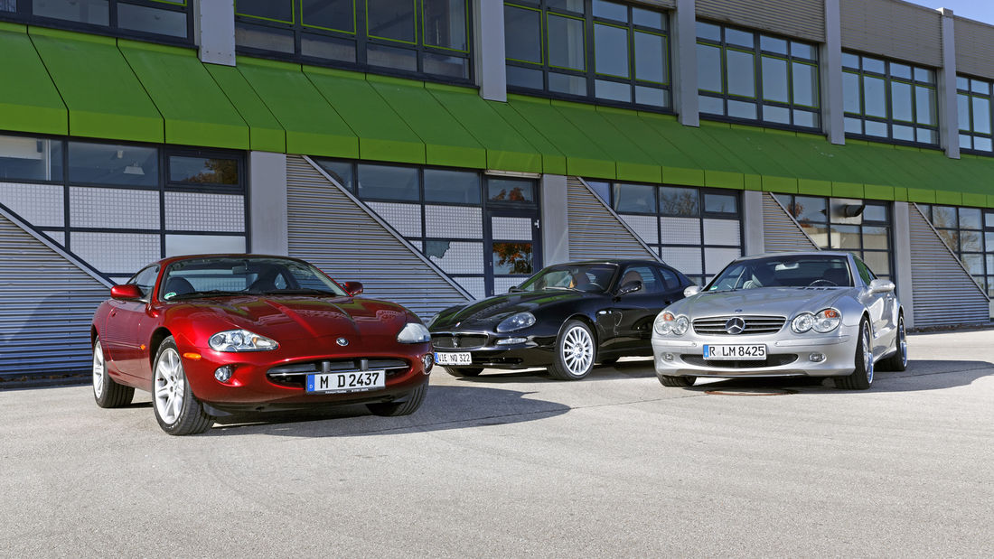 Emotional comparison test by auto motor und sport: Mercedes SL 500 vs Jaguar XK8, Maserati Coupe