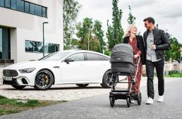For speedy babies. These are the Mercedes-AMG strollers