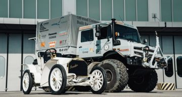 How does the Mercedes-Benz Unimog look among the company's passenger cars?