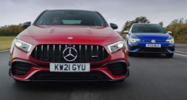 Mercedes-AMG A45 S fights the Volkswagen Golf R in a drift war