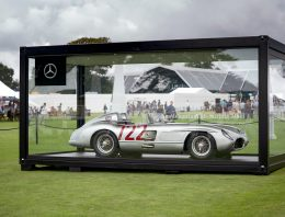 """Mercedes-Benz 300 SLR """"722"""" of Sir Stirling Moss on display at the F1 British Grand Prix"""