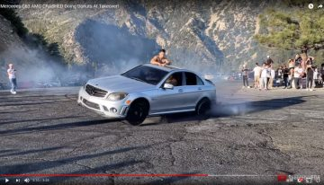 Mercedes C 63 AMG destroyed rear axle while doing drifts