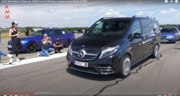Mercedes V-Class with AMG 4.0 liter V8 twin-turbo with 585 HP in drag race
