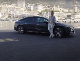 Former F1 World Champion Nico Rosberg drives the new Mercedes EQS around Monaco