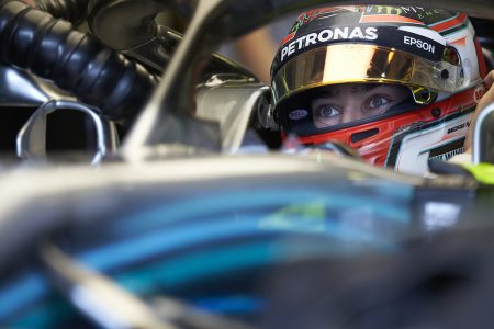 George Russell in a Mercedes-AMG Petronas racing car