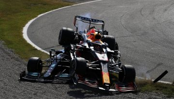 Lewis Hamilton walks away unharmed after horror crash with Max Verstappen at Monza