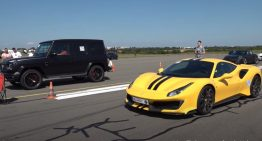 Mercedes-AMG G 63 versus Ferrari 488 Pista. The drag race that does not make any sense at all