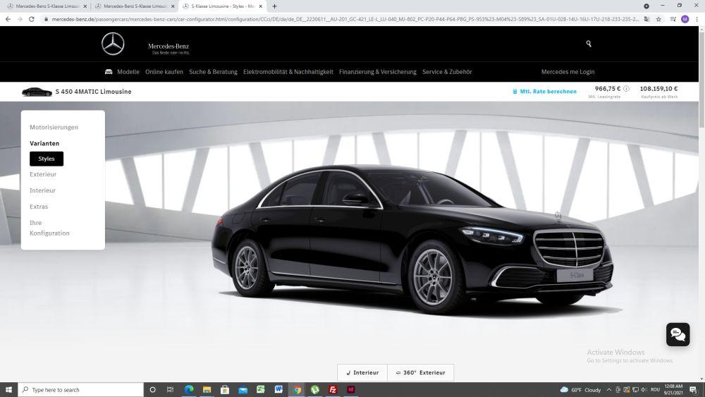 Mercedes S -Class configurator